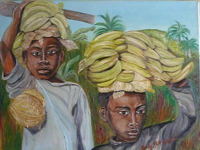 Porteur De Bananes Art Print