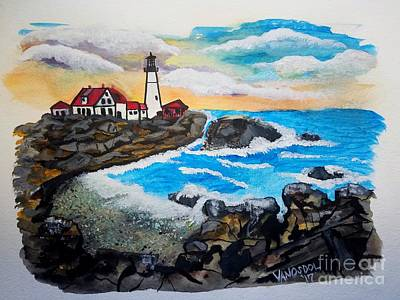 Painting - Porthead Lighthouse Maine In Watercolors by Scott D Van Osdol