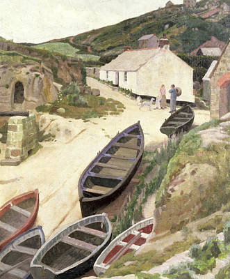 Woman Fishing Painting - Porthgwarra Cornwall by Ernest Procter