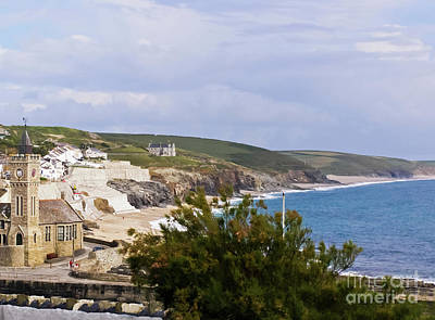 Porthleven And Loe Bar Print by Terri Waters