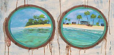 Mixed Media - Porthole Island Painting by Ken Figurski