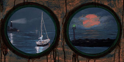 Mixed Media - Porthole Moon Bay Painting by Ken Figurski