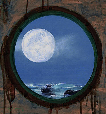 Mixed Media - Porthole Moon Painting by Ken Figurski