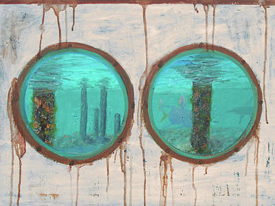 Mixed Media - Porthole Reef Painting by Ken Figurski