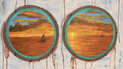Mixed Media - Porthole Sunset Painting by Ken Figurski