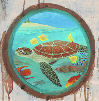 Mixed Media - Porthole Turtle Reef Painting by Ken Figurski