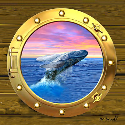 Porthole View Of Breaching Whale Art Print