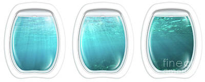 Photograph - Porthole Windows On Underwater by Benny Marty