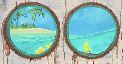 Mixed Media - Porthole Yellow Tang Painting by Ken Figurski