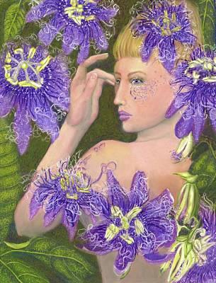 Passion Flower Vine Painting - Portia And Passion Vines by Elizabeth Johnson