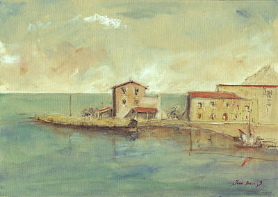 Sicily Painting - Porticello Santa Flavia  Seascape At Sicily Palermo by Juan  Bosco