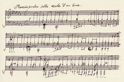 Music Score Drawing - Portion Of The Manuscript Of Beethoven's A Flat Major Sonata, Opus 26 by Beethoven