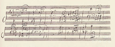 Music Score Drawing - Portion Of The Manuscript Of Beethoven's Sonata In A, Opus 101 by Beethoven