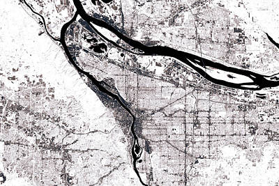 Geography Digital Art - Portland Abstract City Map Black And White by Frank Ramspott