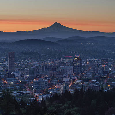Photograph - Portland And Mt. Hood At Sunrise by Prithvi Mandava