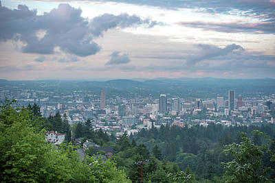 Photograph - Portland At Dusk From Pittock Mansion Lookout by Anthony Doudt