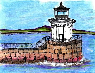 Portland Breakwater Lighthouse Art Print
