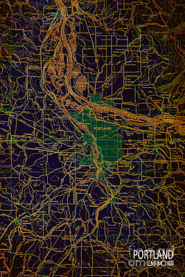 Old Map Digital Art - Portland Brown And Green Antique Map by Pablo Franchi