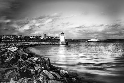 Photograph - Portland Bug Light Black And White by Debra Forand
