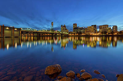 Wall Art - Photograph - Portland By Hawthorne Bridge Blue Hour by David Gn