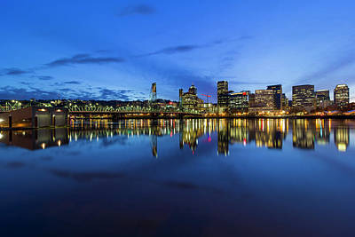 Photograph - Portland City Downtown Cityscape Blue Hour by Jit Lim