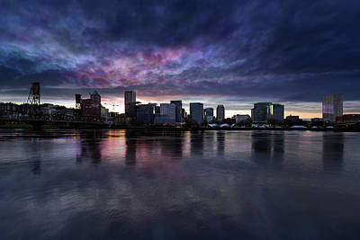 Photograph - Portland City Downtown Cityscape Cloudy Twilight by Jit Lim