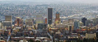 Portland City Downtown Cityscape Panorama Art Print by David Gn