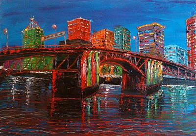 Portland City Lights Over The Morrison Bridge Art Print by Portland Art Creations