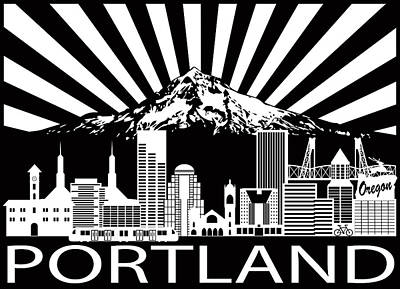 Digital Art - Portland City Skyline And Mount Hood Black White Illustration by Jit Lim