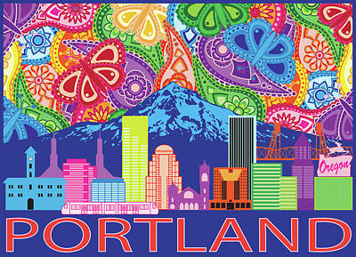 Photograph - Portland City Skyline And Mount Hood Color Paisley Illustration by Jit Lim