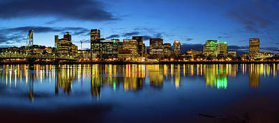 Portland City Skyline Blue Hour Panorama Art Print by David Gn