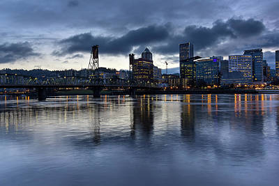 Scenic Photograph - Portland City Skyline With Hawthorne Bridge At Dusk by David Gn