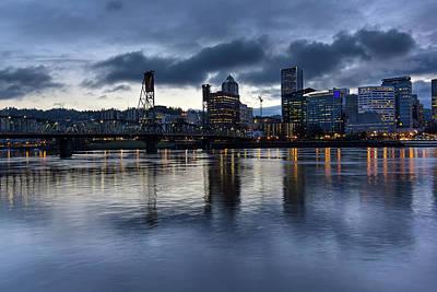 Sky Photograph - Portland City Skyline With Hawthorne Bridge At Dusk by David Gn