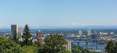 Photograph - Portland Cityscape And Bridges On A Clear Blue Day by David Gn