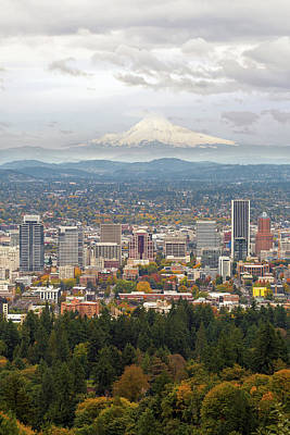 Photograph - Portland Cityscape And Mount Hood In Fall by Jit Lim