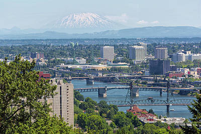Photograph - Portland Cityscape With Mount Saint Helens View by David Gn