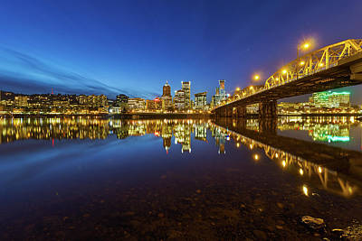 Portland Downtown Blue Hour Art Print
