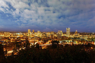 Photograph - Portland Downtown Cityscape At Blue Hour by David Gn