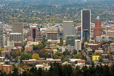 Photograph - Portland Downtown Cityscape In Fall Season by Jit Lim