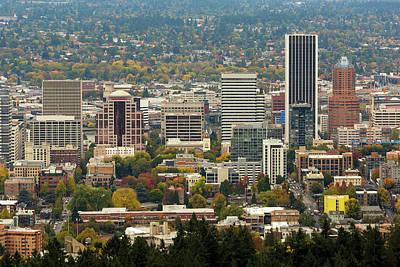Photograph - Portland Downtown Cityscape In Fall Season by Jit Lim