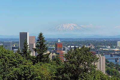 Photograph - Portland Downtown Cityscape With Mount Saint Helens View by David Gn