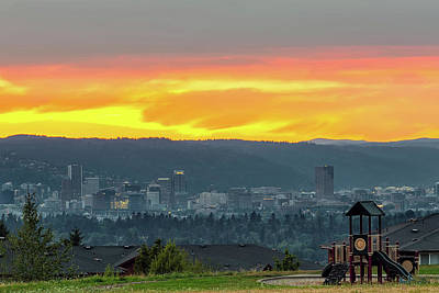 Wall Art - Photograph - Portland Downtown Skyline By Childrens Playground by David Gn