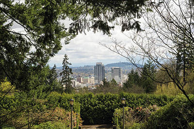 Photograph - Portland Downtown View From Washington Park by Jit Lim
