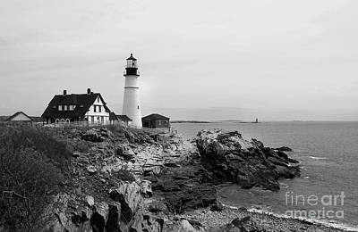 Photograph - Portland Head Black And White by Skip Willits