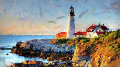 Red Roses - Portland Head Light - 05 by AM FineArtPrints