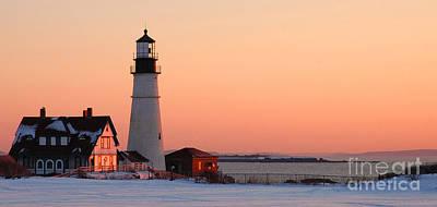 Portland Head Light At Dawn - Lighthouse Seascape Landscape Rocky Coast Maine Art Print