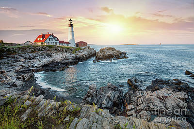 Photograph - Portland Head Light At Dusk by Jane Rix