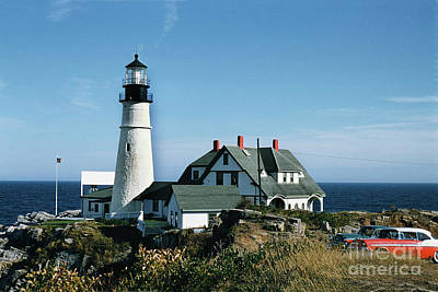 Photograph - Portland Head Light, Cape Elizabeth, Maine 1957 by California Views Archives Mr Pat Hathaway Archives