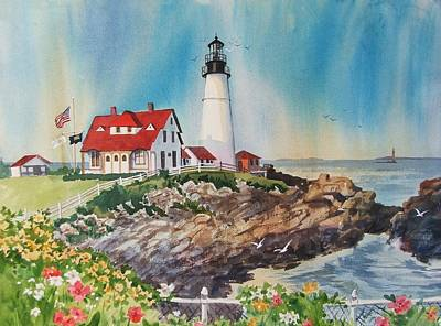 Maine Coast Painting - Portland Head Light by Dianna  Willman