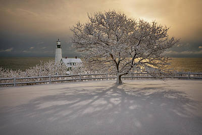 Photograph - Portland Head Light Fresh Snow by Darylann Leonard Photography